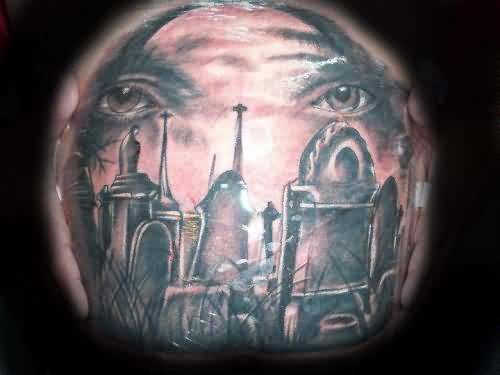 Showing Graveyard Tattoo On Side