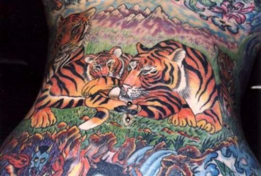 Side Back Realistic Tiger Tattoo For Girls