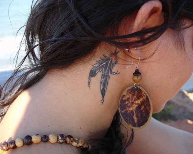 Side Neck Feather Tattoos For Girls