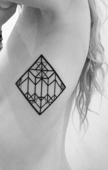 Side Rib Small Outline Triangle Tattoo For Girls