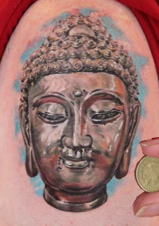 Silver Buddha Head Statue Tattoo On Upper Arm