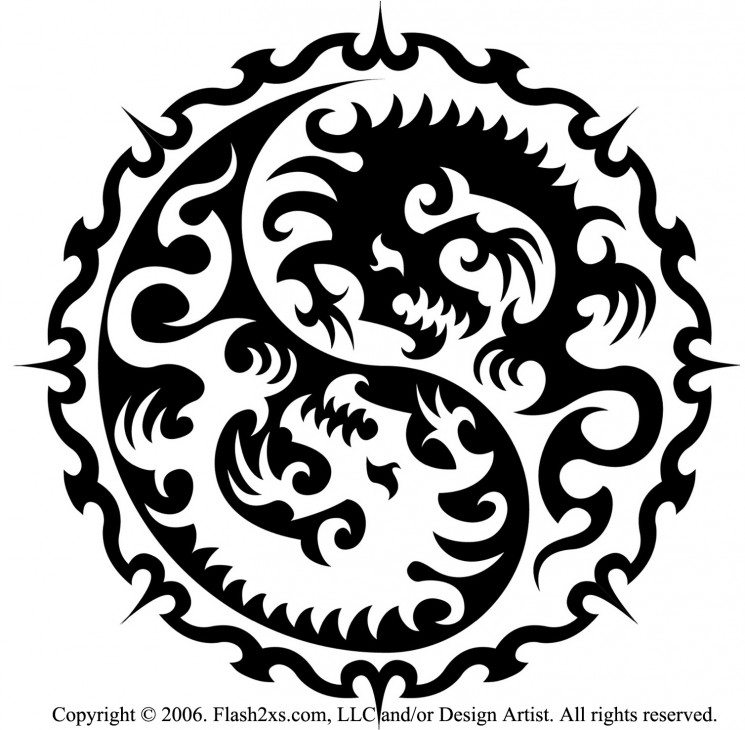 Simple Dragon Yin Yang Tattoo On Shoulder
