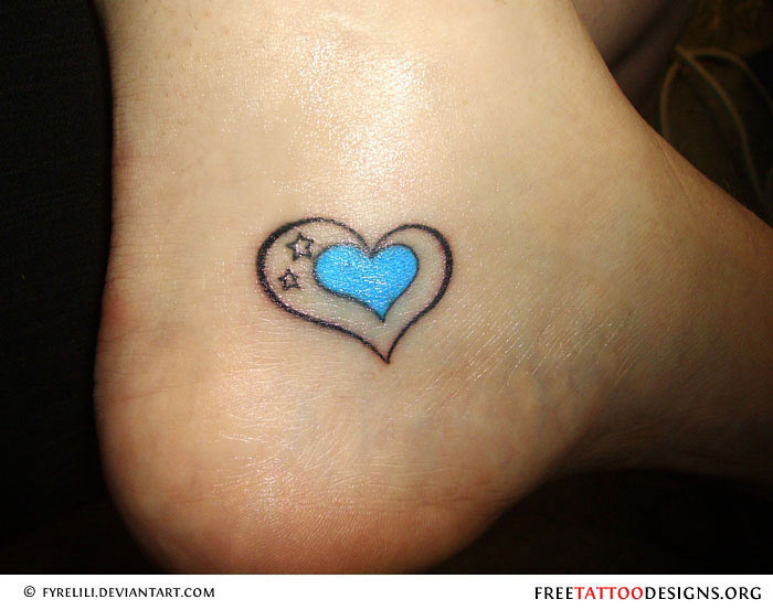 Simple Heart Tattoo On Ankle