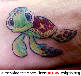 Showing New Ocean Turtle Tattoo On Thigh