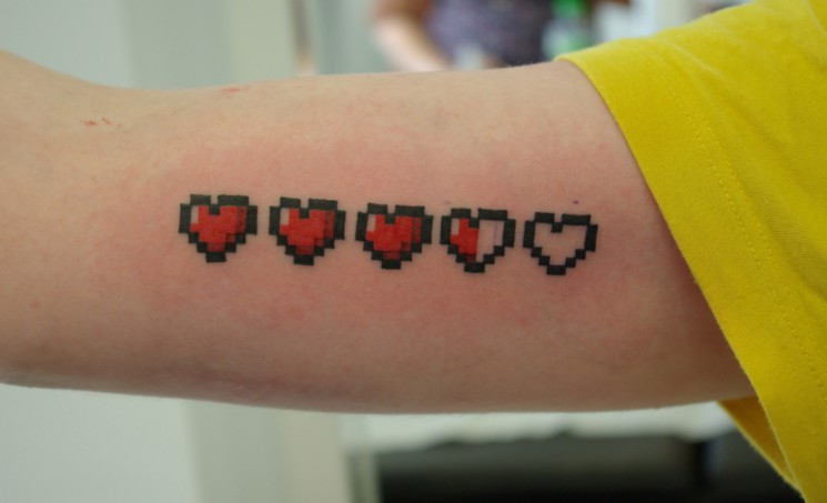 Single Video Game Pixel Heart Tattoo