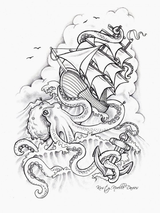 Sinking Ship And Red Octopus Tattoo On Back