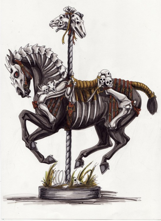 Skeleton Carousel Animal Tattoo