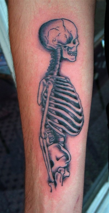 Skeleton Cycle Tattoo On Leg