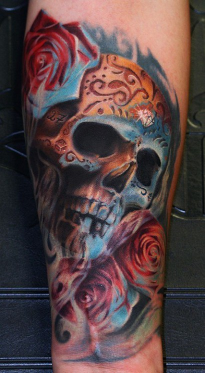 Skeleton Playing A Guitar Tattoo On Side