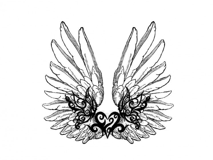 Skeleton With Angel Wings Tattoo Design