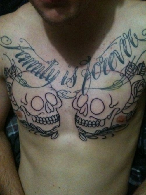 Skeleton With Wings Tattoo On Chest