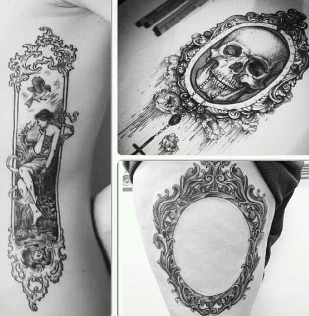 Skull And Frame Thigh Tattoo