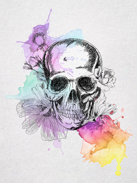 Skull And Rose Vine Paint Tattoos