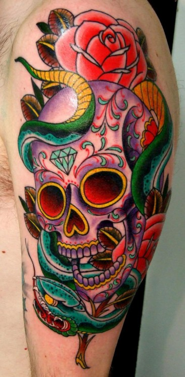 Skull And Roses Without Color Tattoo Design