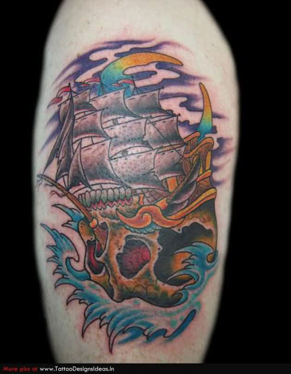Skull And Ship Tattoos On Biceps