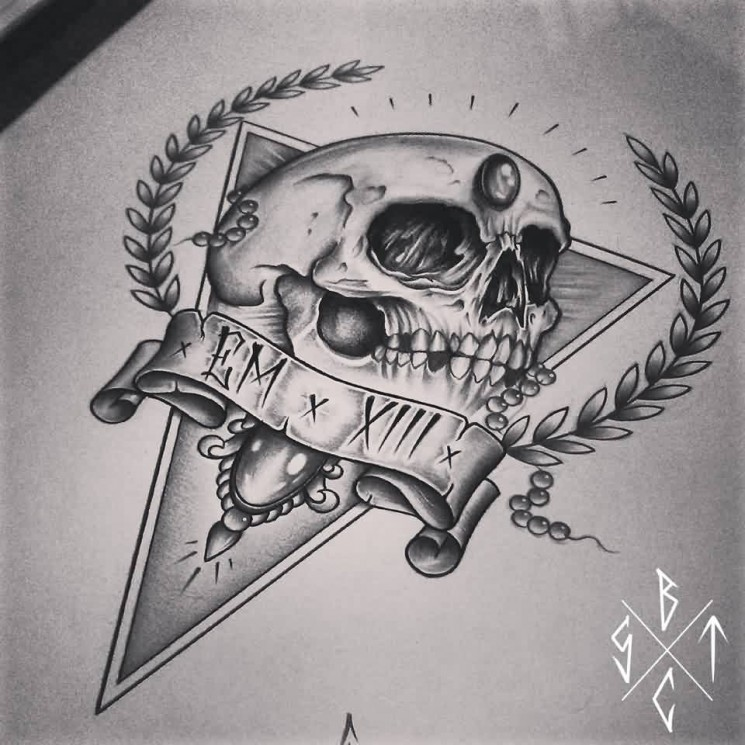 Skull And Triangle Tattoos Design