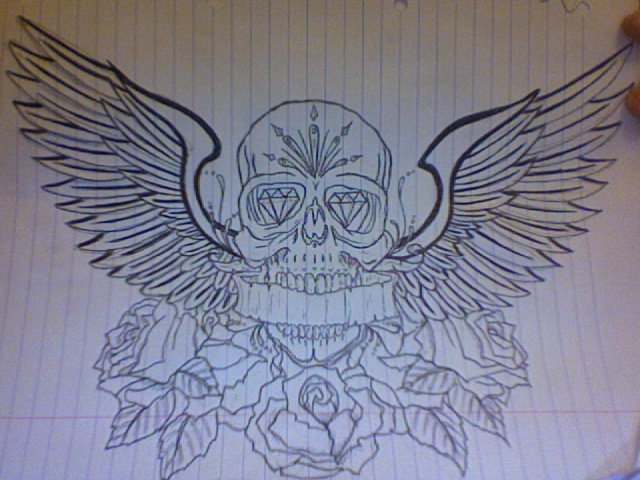 Skull And Wings Tattoo For Chest