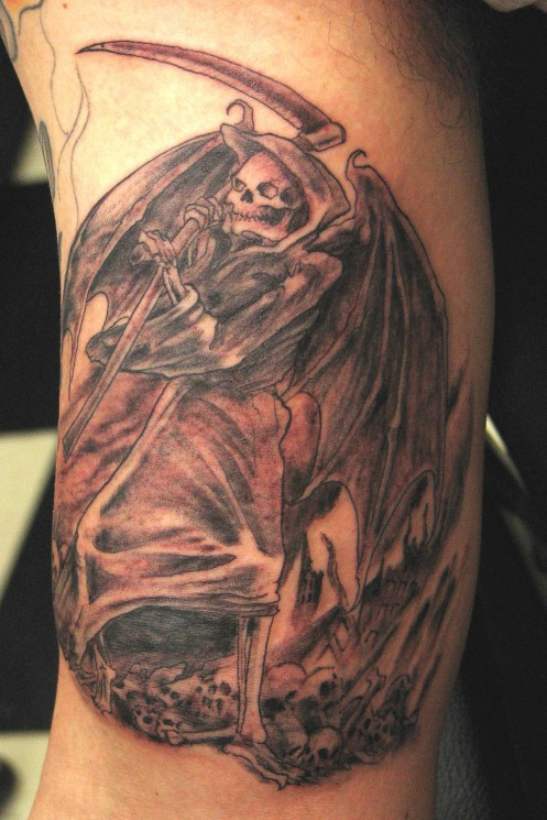 Skull Bat Wings Memorial Tattoo