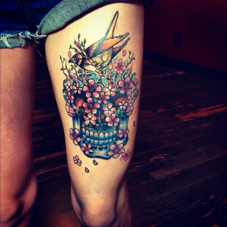 Skull Bird Tattoos On Thigh For Girls