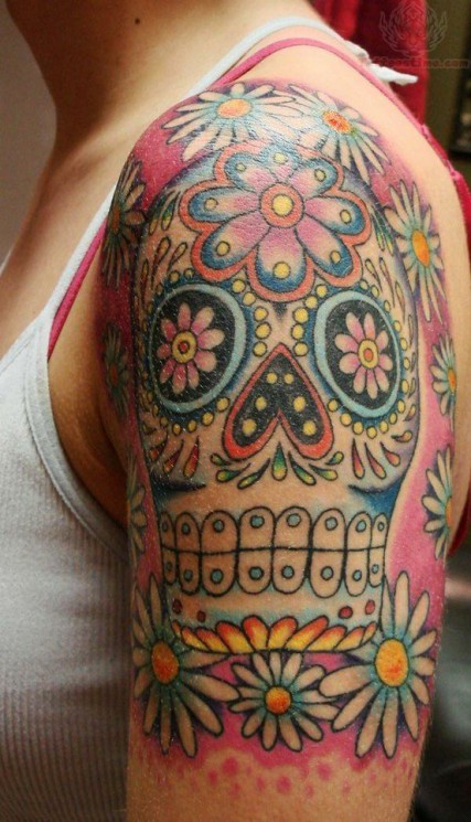 Skull Flowers Half Sleeve Tattoos