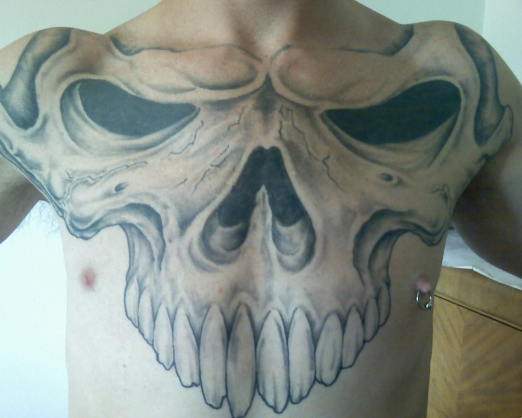Skull Moon Tattoo For Chest