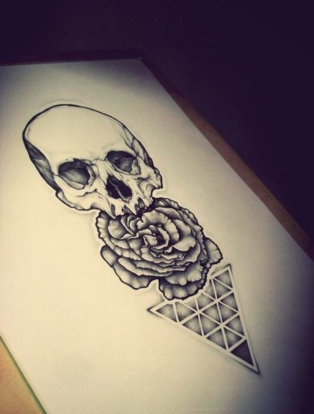 Skull Rose And Triangle Tattoo Designs