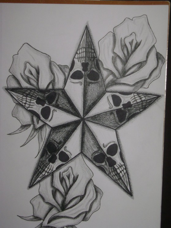 Skull Surrounded By Star Tattoos
