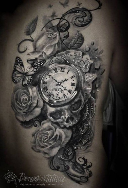 Skull Watch And Rose Half Sleeve Tattoos