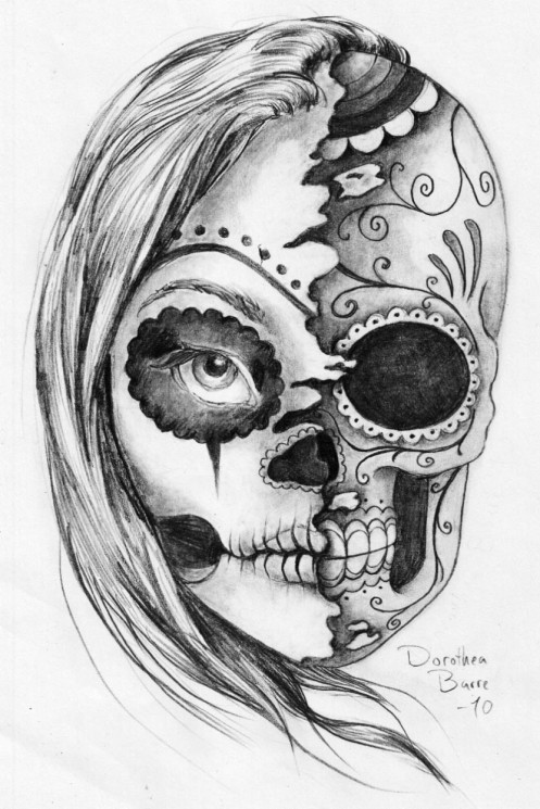 Skull Waves Tattoo Design