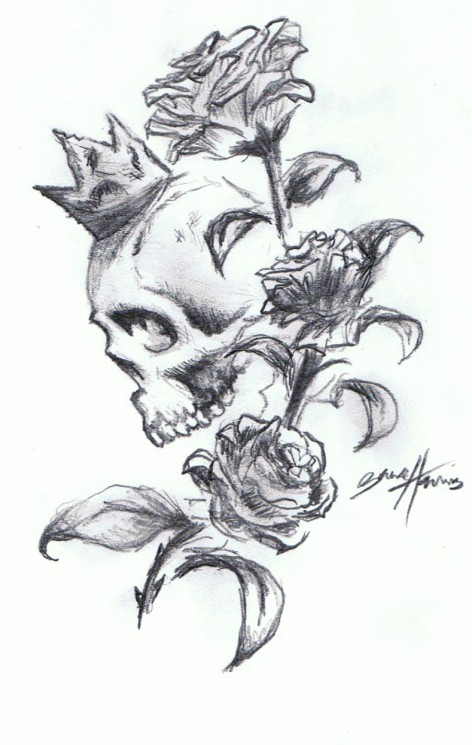 Skull With Roses Tattoo Designs