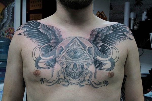 Skull n All Seeing Eye Tattoo On Chest