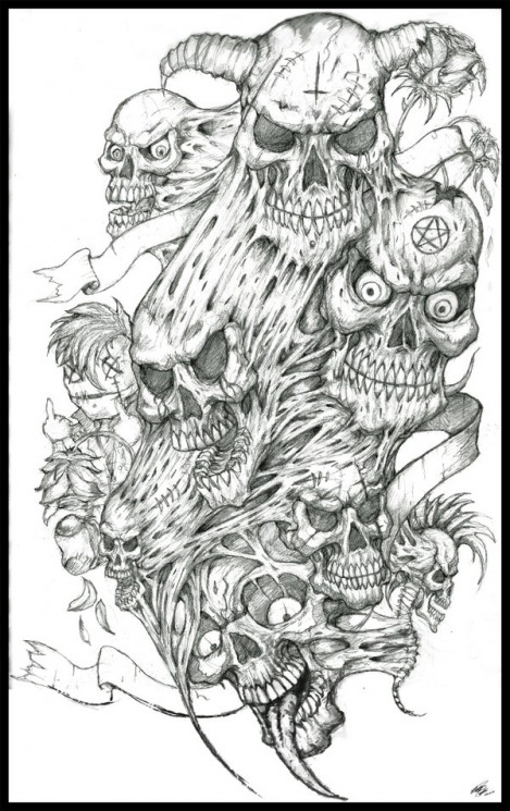 Skulls n Flames Horror Tattoo Design