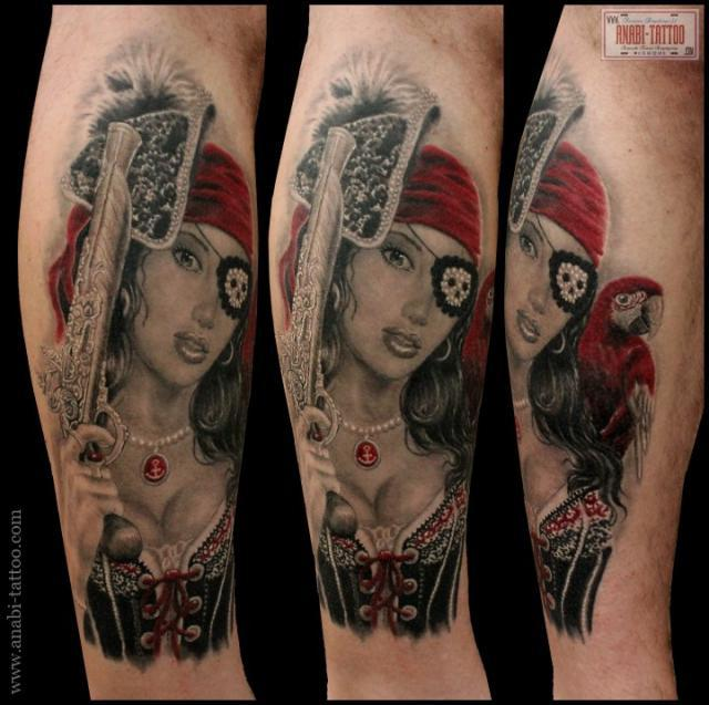 Sleeve Of Colorful Pirate Tattoos