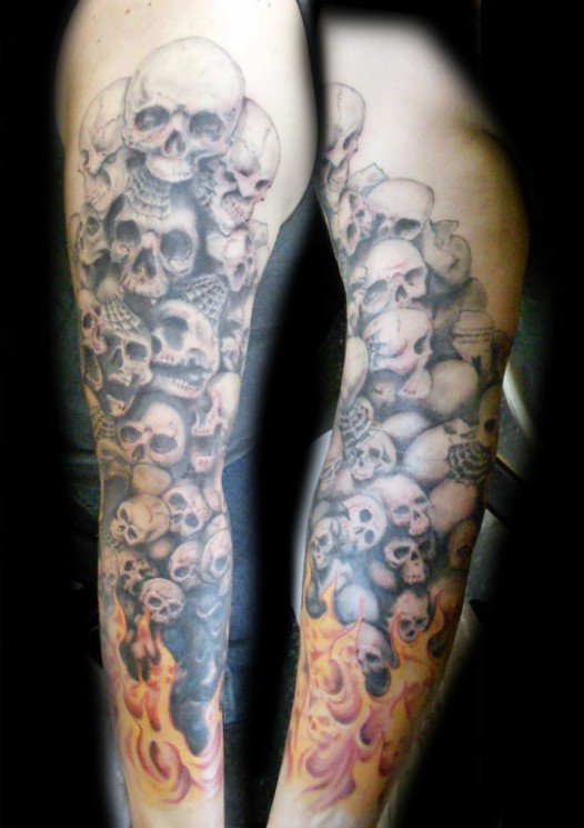 Sleeve Tattoo Of Skulls