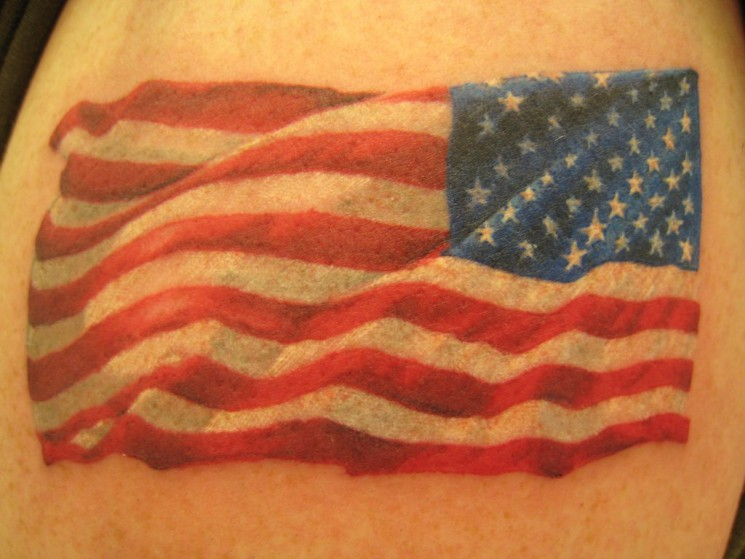 Small American Flag Star Tattoos