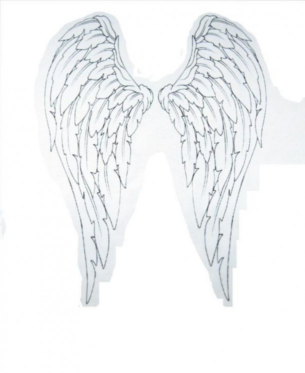 Small Angel Wings Tattoo On Back
