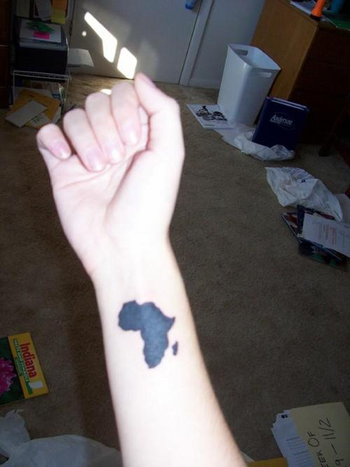 Small Black Ink African Map Tattoo