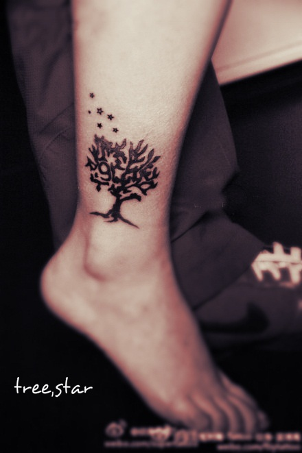 Small Black Tree Tattoo For Ankle
