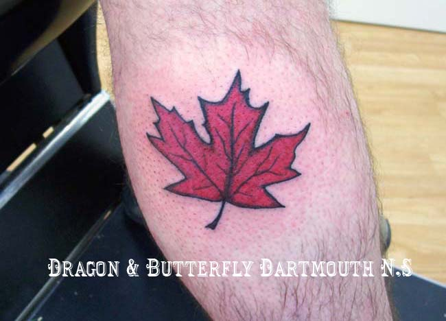 Small Canadian Leaf Leg Tattoo Design