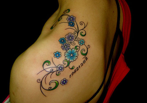 Small Colored Flower Tattoos On Shoulder