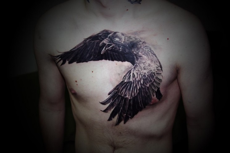 Small Crows Tattoos On Chest