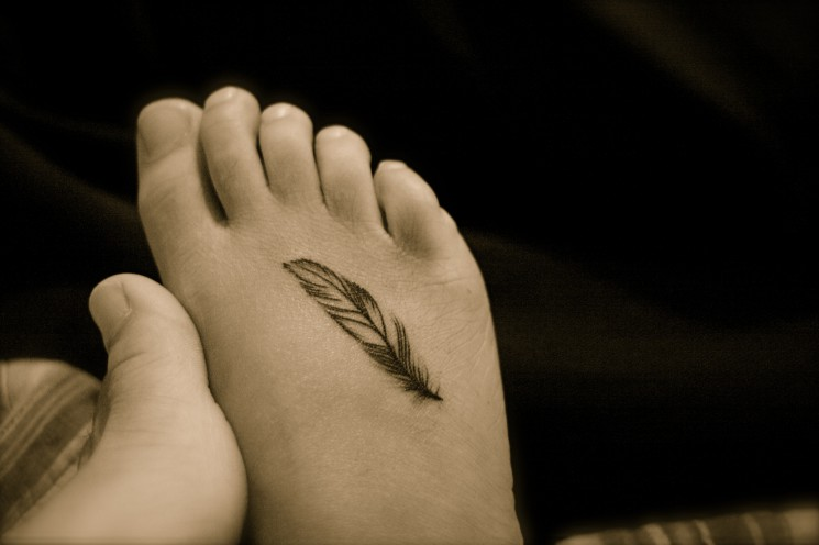 Small Feather Foot Tattoo