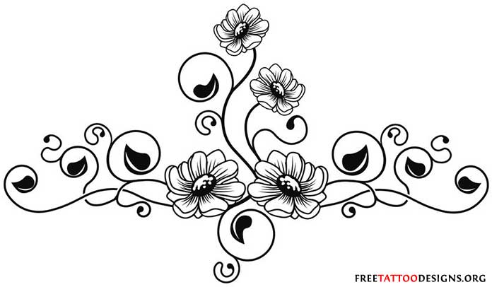 Small Flowers Vine Tattoo For Foot