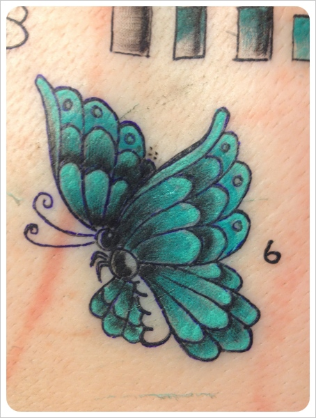 Small Green Butterfly Tattoo