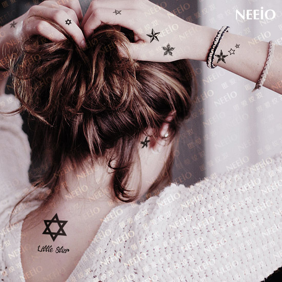 Small Grey Hexagram Star Back Neck Tattoo