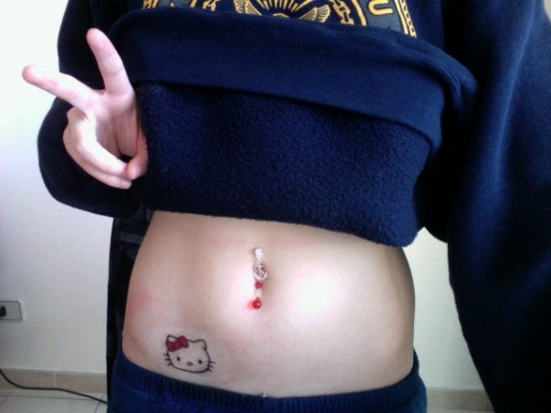 Small Hello Kitty Waist Tattoo For Girls