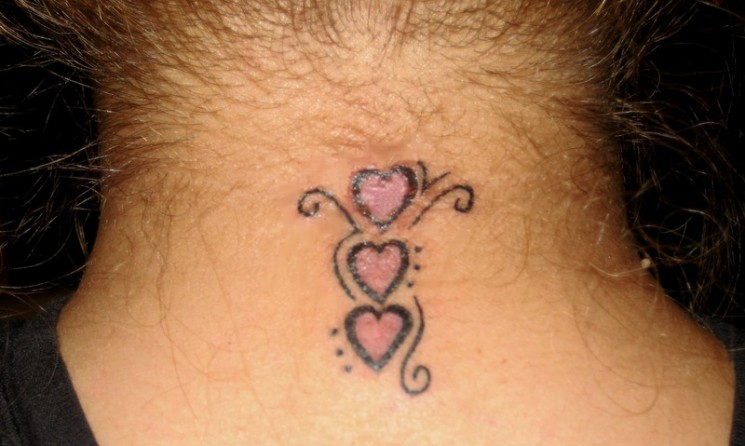 Small Incomplete Heart Back Neck Tattoo