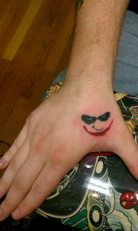 Small Joker Tattoo On Hand