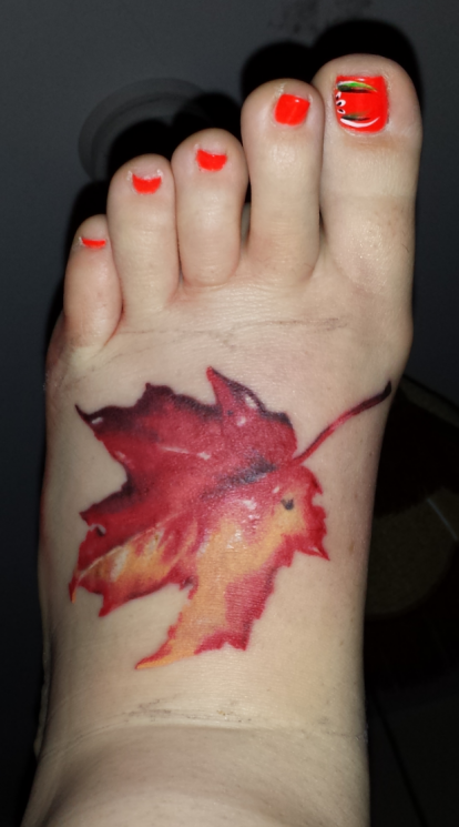 Small Maple Leaf Tattoo On Foot For Hot Girls