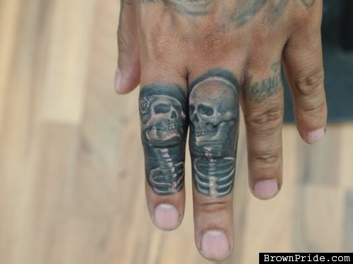 Small Skeleton Couple Tattoos On Fingers
